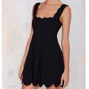 NWT Nasty Gal Black Scalloped Mini Dress